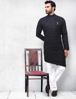 Black mens solid festive wear kurta suit