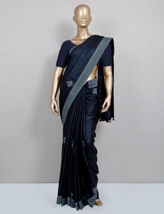 Navy party wear saree in handloom cotton