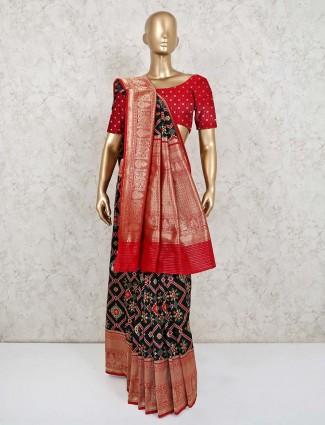 Black patola silk wedding session saree