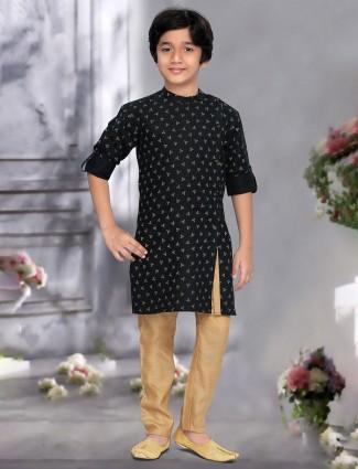 Black printed cotton bandhgala neck kurta suit