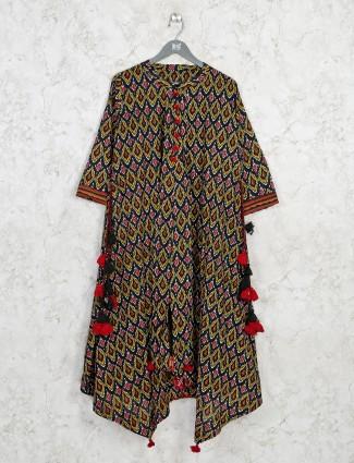 Black printed cotton designer kurti