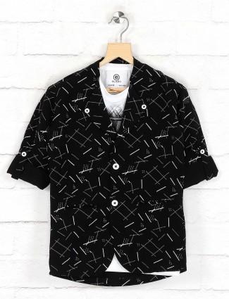 Black printed cotton fabric blazer