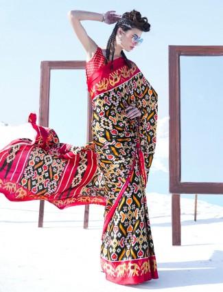 Black printed festive wear satin saree