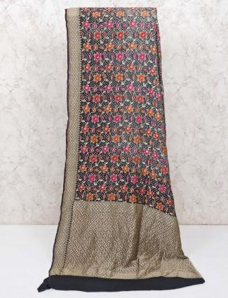 Black pure banarasi silk saree