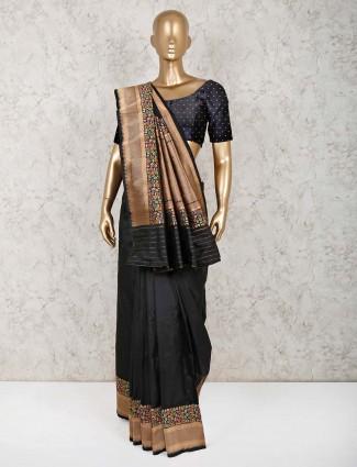 Black pure silk saree for festive wear