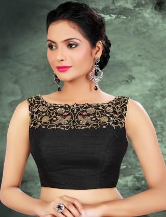 Black raw silk designer readymade blouse