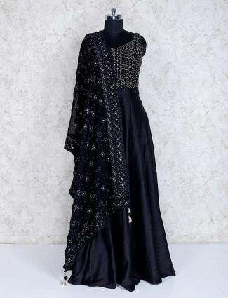 Black raw silk floor length anarkali salwar kameez