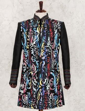 Black raw silk party wear indo western