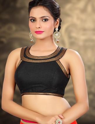 Black raw silk readymade designer blouse
