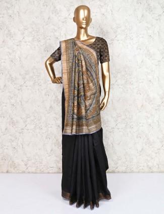 Black saree in cotton