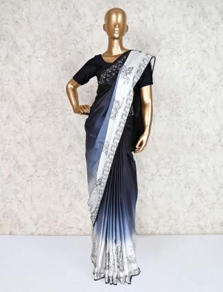 Black saree in satin