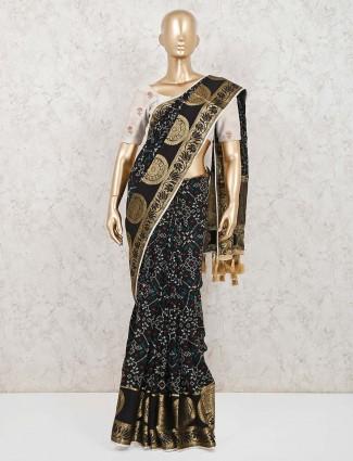 Black semi silk festive function saree
