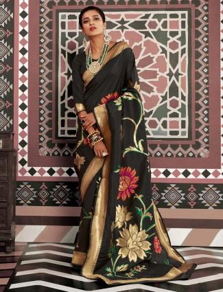 Black soft silk festive session saree