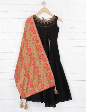 Black solid cotton fabric anarkali suit for festive