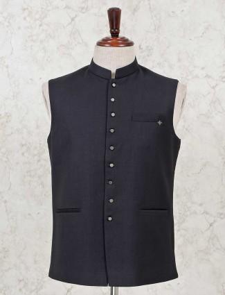 Black solid cotton silk classy waistcoat
