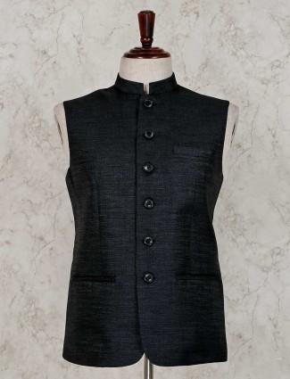 Black solid raw silk party wear waistcoat