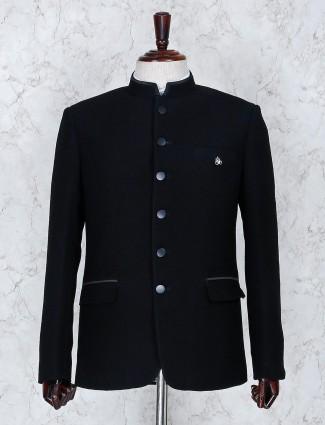 Black solid terry rayon fabric jodhpuri blazer