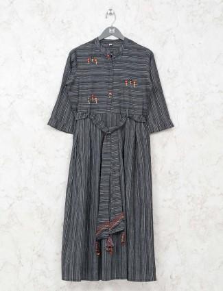 Black stripe cotton kurti