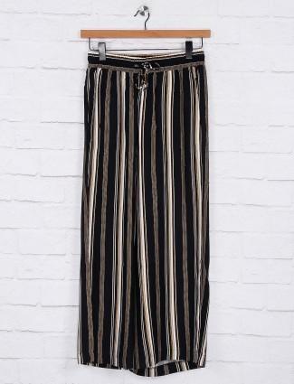 Black stripe cotton palazzo