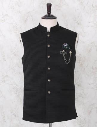 Black stripe patern terry rayon mens waistcoat