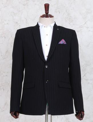 Black stripe pattern blazer
