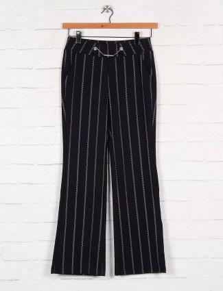 Black stripe pattern cotton palazzo