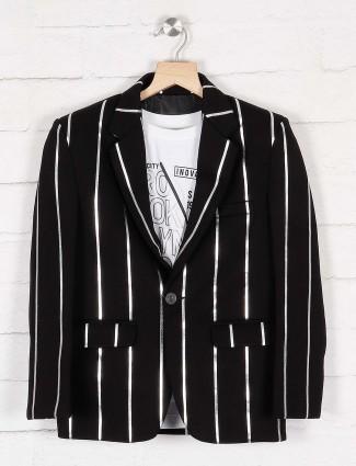 黑色条纹特里人造丝派对装西装外套