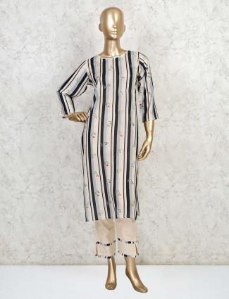 Black striped printed pant style salwar suit