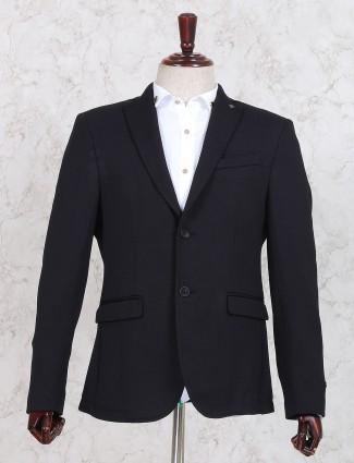 Black terry rayon blazer for mens