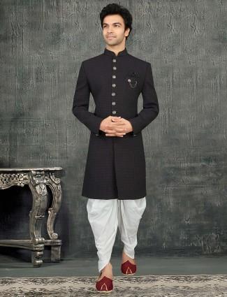 Black terry rayon designer indo western