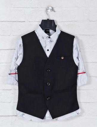 Black terry rayon waistcoat set