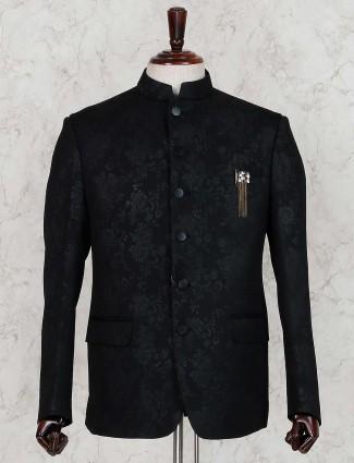 Black textured terry rayon jodhpuri blazer