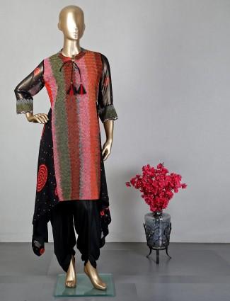 Black thread work dhoti style salwar kameez