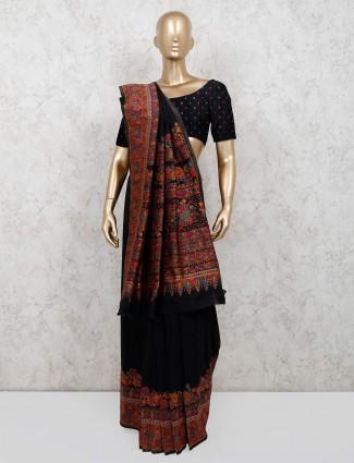 Black wedding wear pashmina silk saree