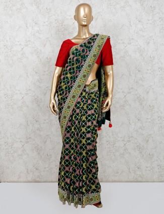 Black zari inflated patola silk saree
