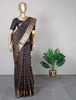 Black zari work saree for women