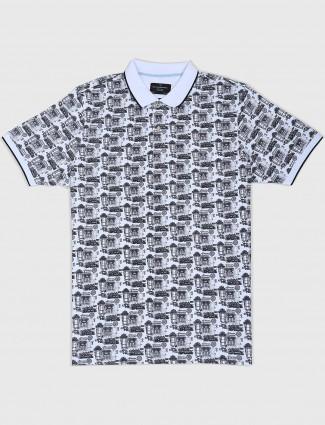 Blackberrys polo neck white printed t-shirt