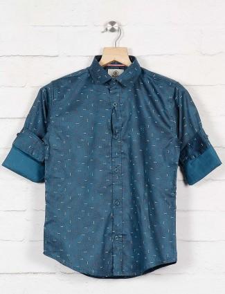 Blazo blue printed slim collar shirt