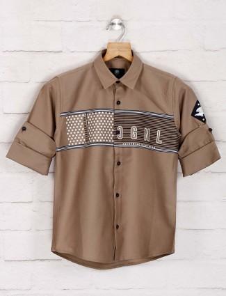Blazo casual wear beige printed shirt
