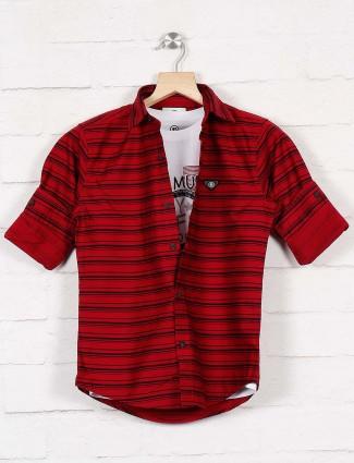Blazo maroon stripe slim collar shirt