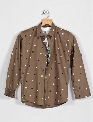Blazo olive printed pattern full sleeve shirt