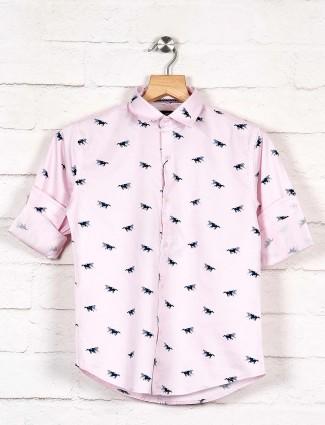 Blazo slim collar pink horse printed shirt