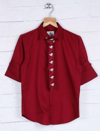 Blazo solid maroon partywear shirt