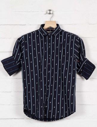 Blazo stripe full sleeves navy hue shirt