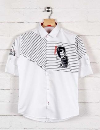 Blazo white printed casual wear shirt