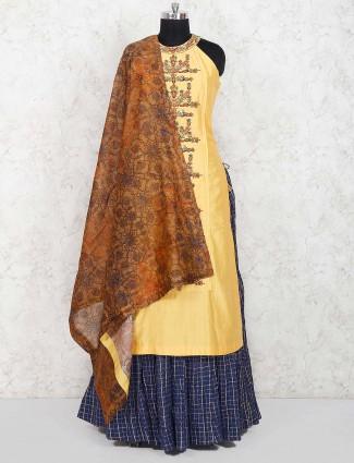 Blue and yellow cotton silk lehenga choli