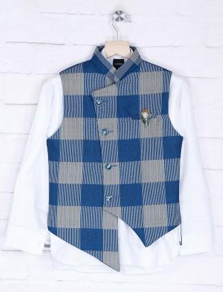Blue and beige jute fabric checks waistcoat set