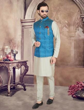 Blue and beige Jute waistcoat set for mens