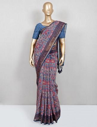Blue and cream cotton designer festive wear saree