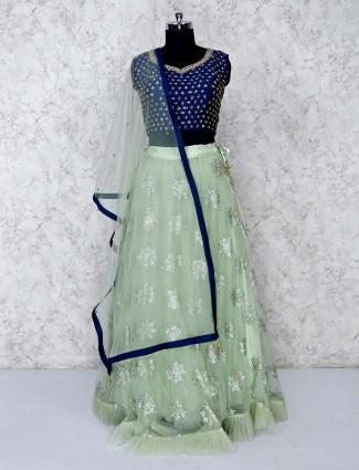 Blue and green net lehenga choli